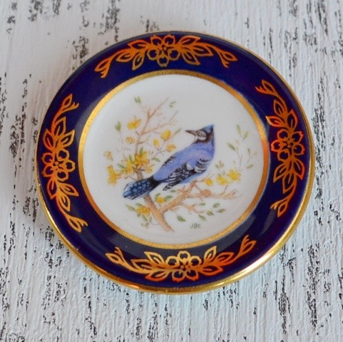 Мини-тарелочка FRANKLIN PORCELAIN BIRD BLUE JAY pf-001/19
